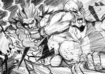 Akuma Vs Kratos by magion02