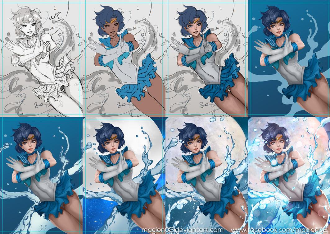 Sailor Mercury progress by magion02