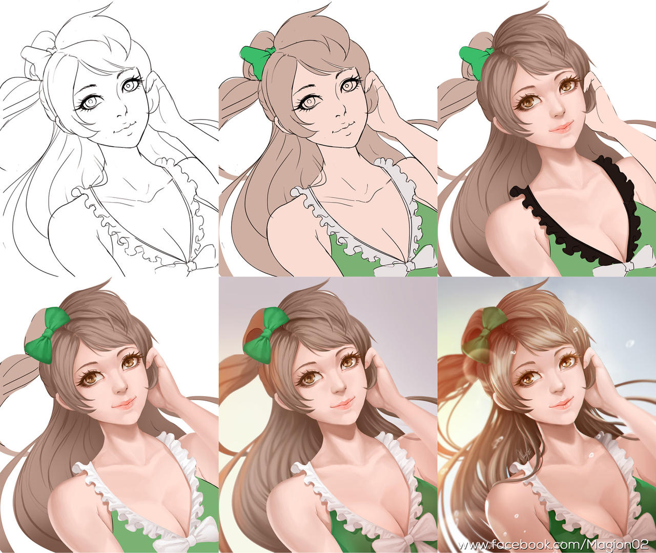 Color lineart in photoshop - Minami Kotori Love Live Process By Magion02