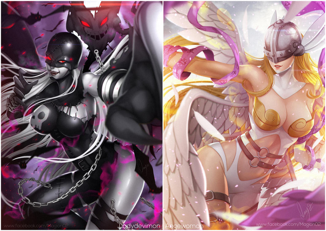Ladydevimon x Angewomon by magion02