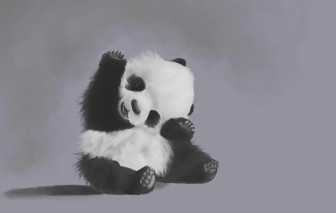cute panda painting wallpaper - photo #25
