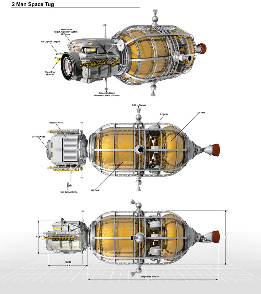 2 Man Space Tug Diagram by William-Black