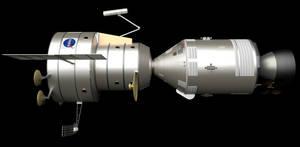 Apollo Venus Flyby Spacecraft: Profile-View by William-Black