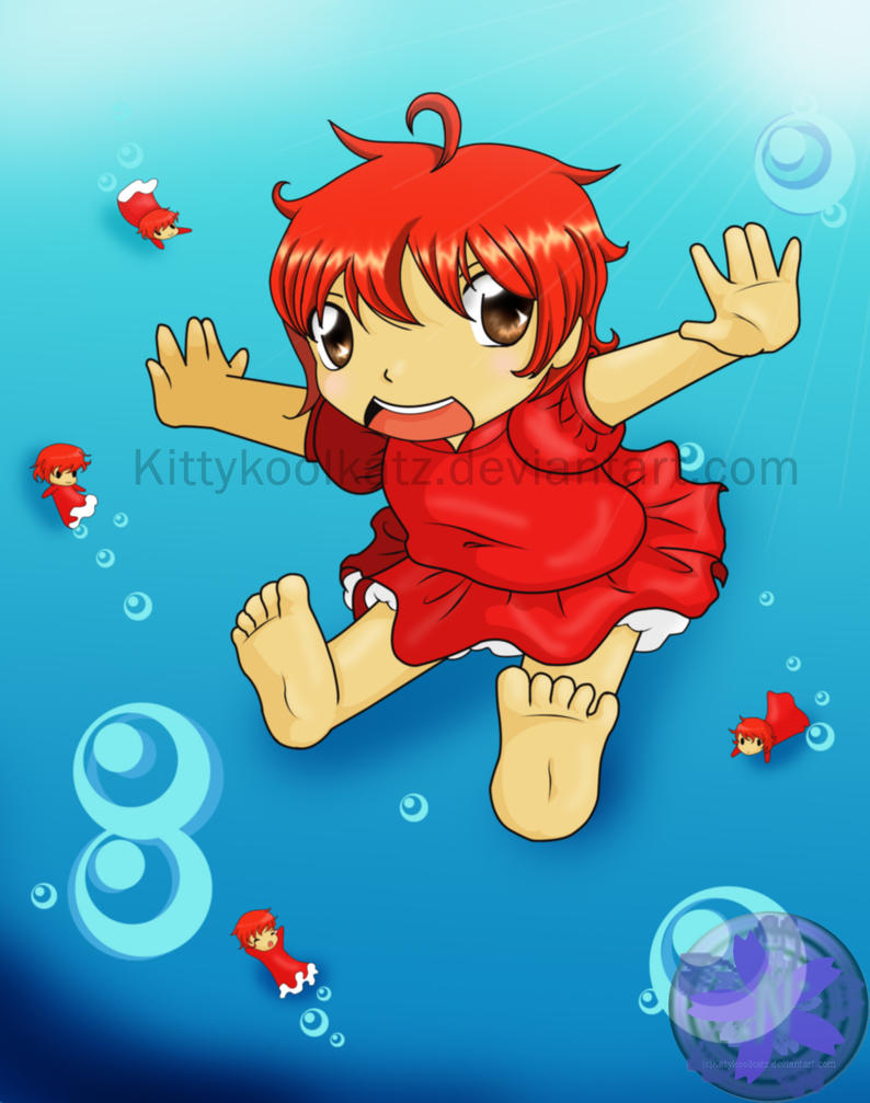 Ponyo on the Cliff by the sea by kittykoolkatz on DeviantArt