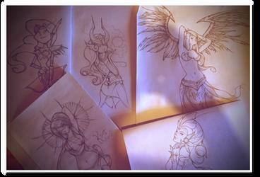 Game Girls linework by laurasardinha