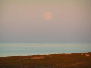 Moon over Arctic Sea