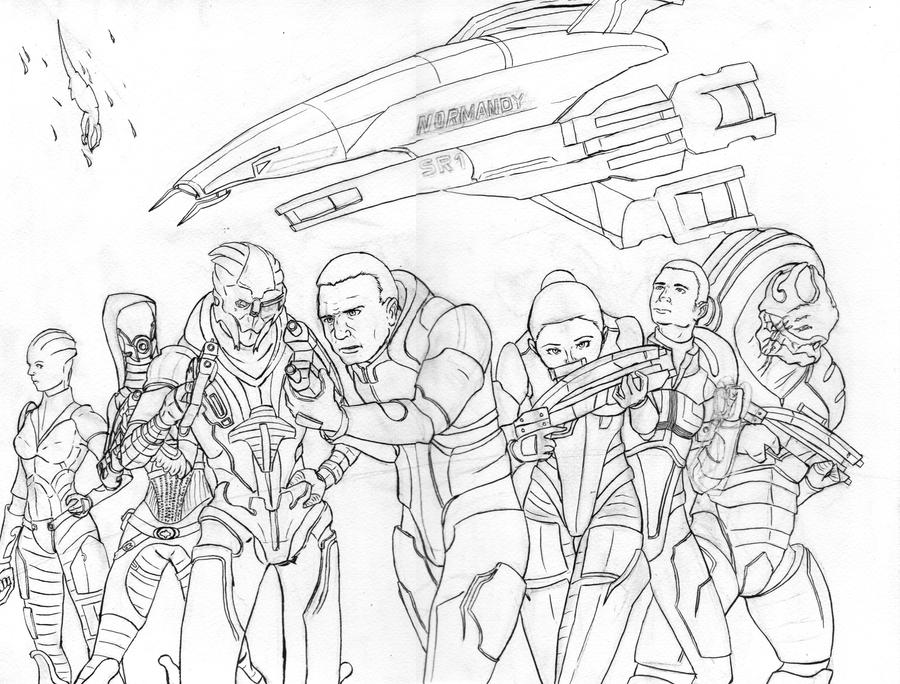 Line Drawing Effect Photo : Mass effect line art by celucrator on deviantart