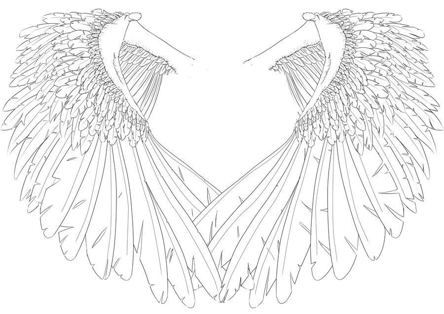 Line Art Angel : Angel wings by humdrumbuzz on deviantart