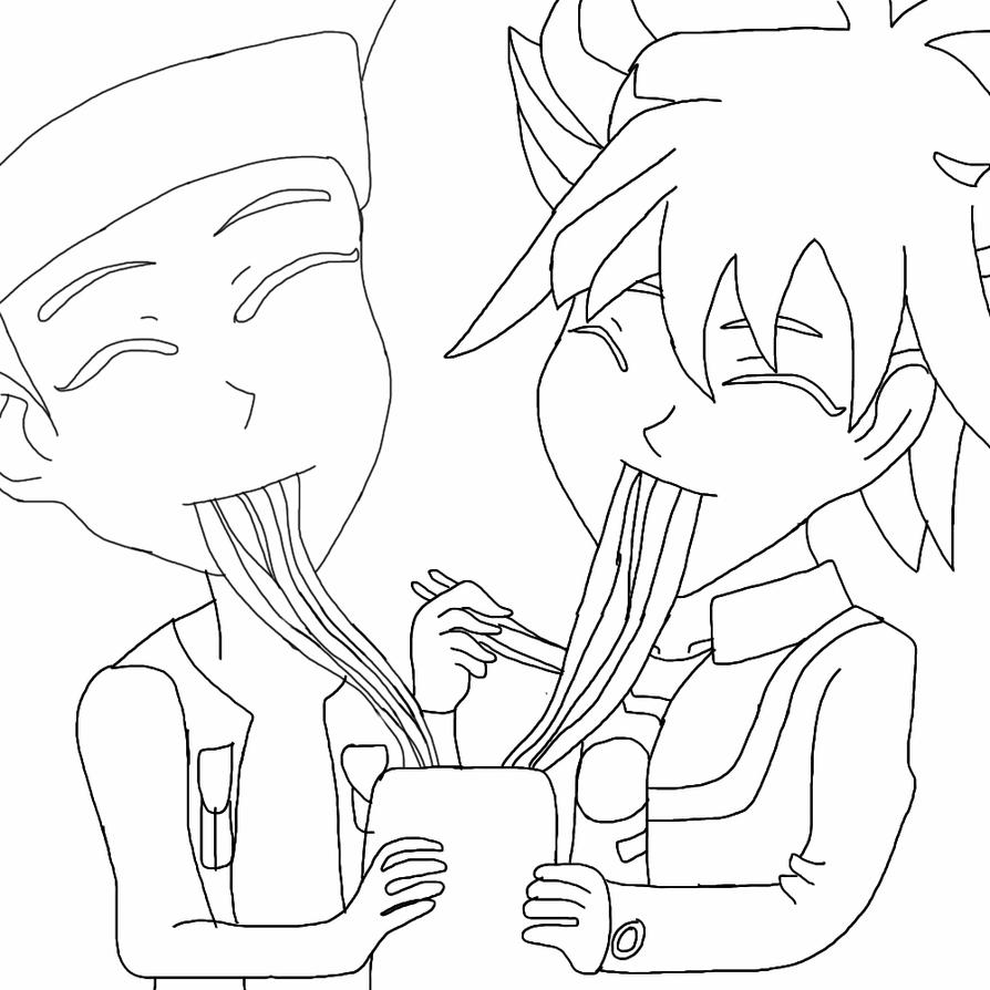 Yusei and crow with ramen noodles by AskTuxSonicsSister