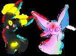 Umbreon + Espeon Doodles