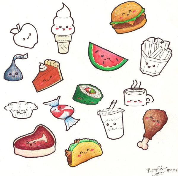 Cute Kawaii Food Drawings | Car Interior Design