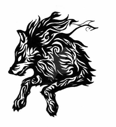 Leaping Tribal Wolf by TechnoBagel