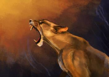 Lioness Painting WIP by CalebP1716