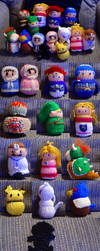 Smash Brothers Melee potato dolls by eightcrows