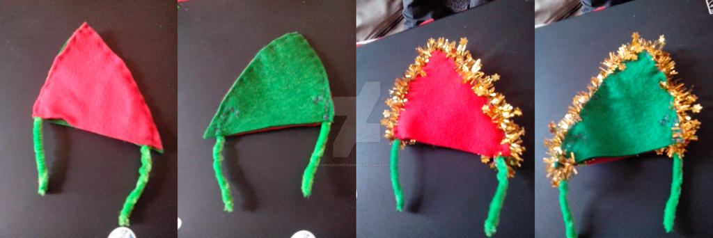 Red-green pair of x-mas ears by chipmunkwithwings