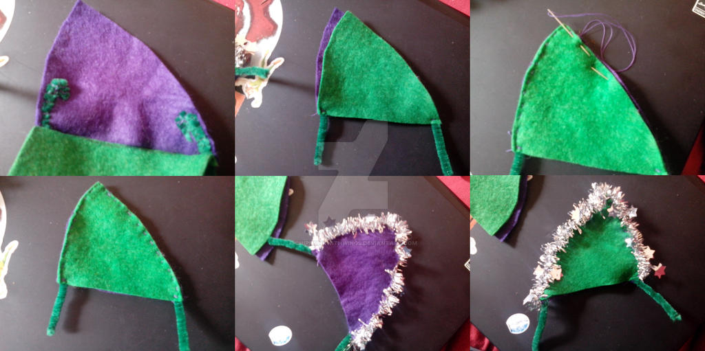 Purple-green pair of christmas ears by chipmunkwithwings