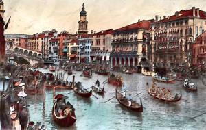 Vintage European  Grand Canal Festa  Circa 1910 by vinsky2002