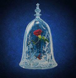 enchanted rose handpainted wall clock