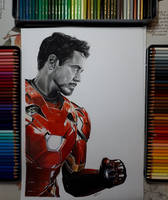 Tony Stark iron man coloured pencil drawing by Macca4ever