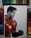 Tony Stark iron man coloured pencil drawing