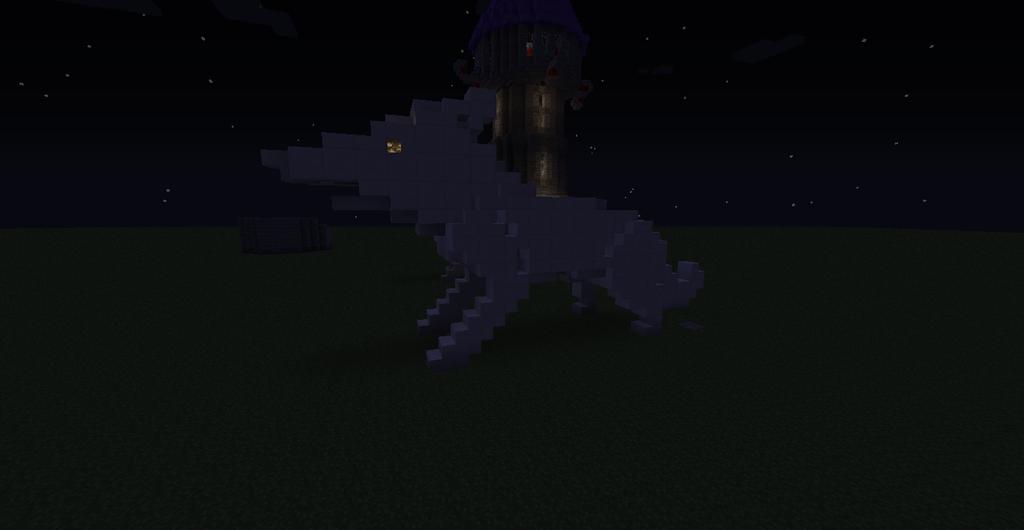 Minecraft Realistic Wolf Statue