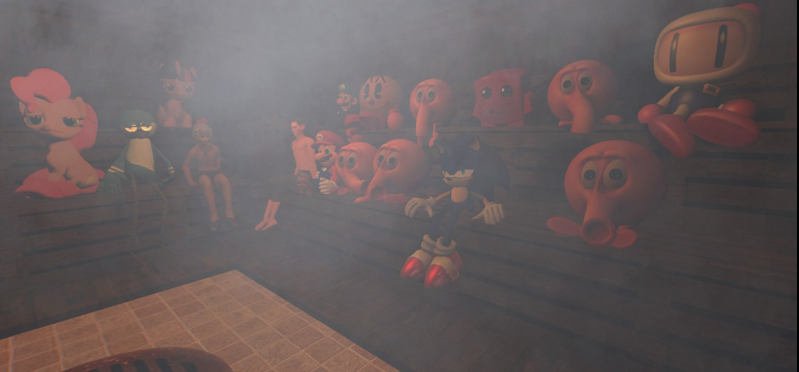 Game And Tv Show Characters Chillin' In sauna by regularshowandsonic