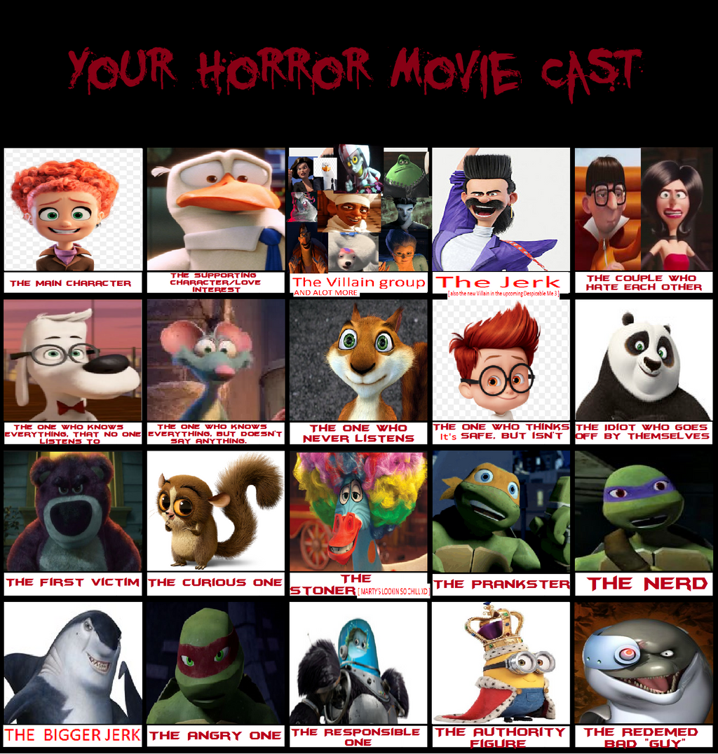 my crossover horror movie cast meme by regularshowandsonic