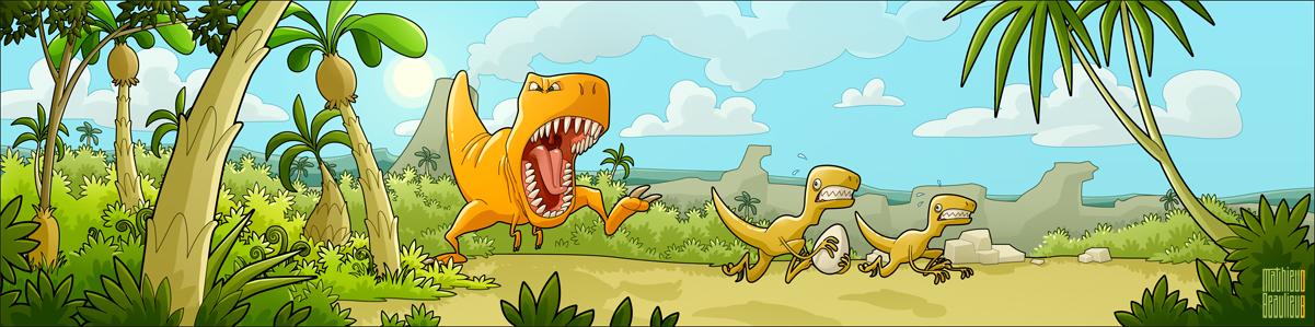 T-Rex vs Raptors by MathieuBeaulieu