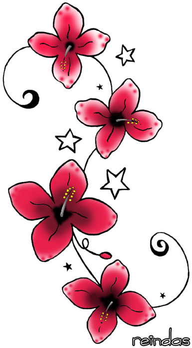 design red flower tattoo by reindas on deviantart cool place for hand tattoo, arm tattoo, foot tattoo, side body tattoo for women tattoo