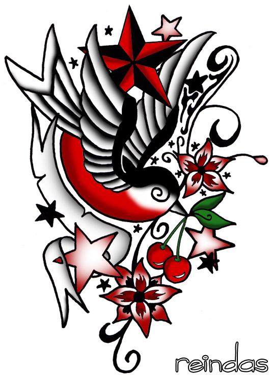 new school tattoo designs. new school tattoo colored by