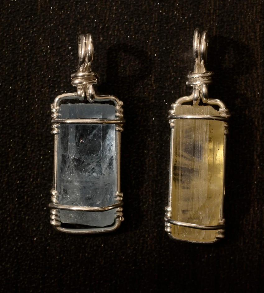 Aquamarine and yellow Beryl Pendants by lamorth-the-seeker