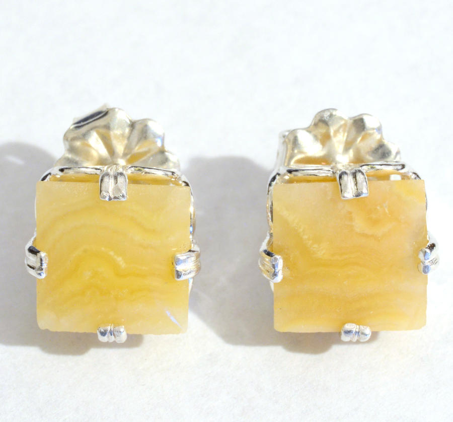 Yellow Crazylace Agate Sq Earrings by lamorth-the-seeker