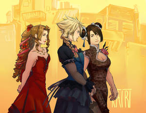 Aerith, Cloud and Tifa wearing dresses