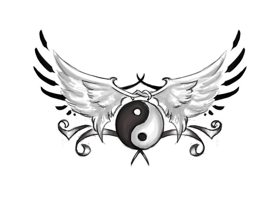 Winged yin yang by themidnightvixen on deviantart - Tatouage ying yang ...