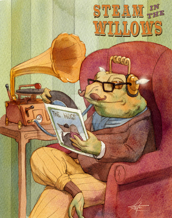 Toad and his gramophone by wovenlines