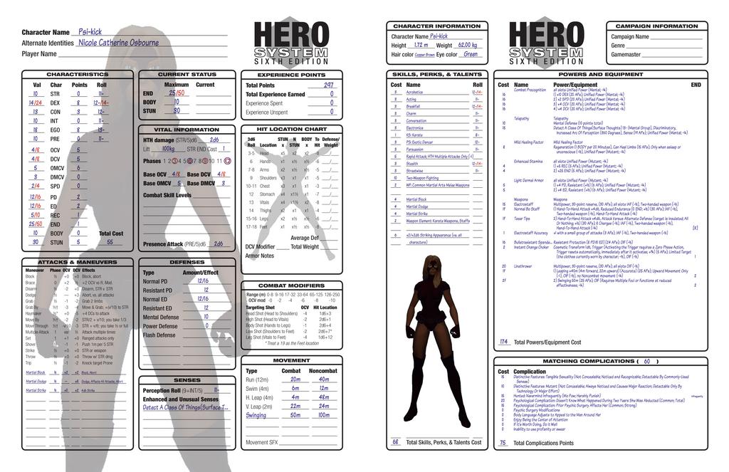 Psi-kick - Hero System 300 points by cptpatriot