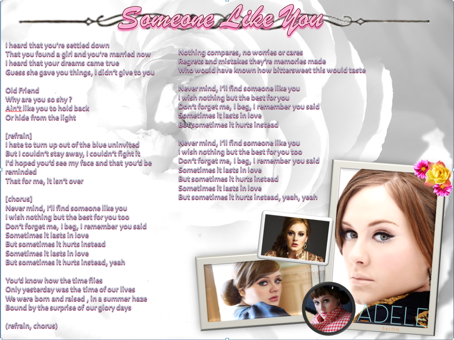 Lyric adele someone like you lyrics : Someone Like You: Adele lyrics by HoorayForPie on DeviantArt