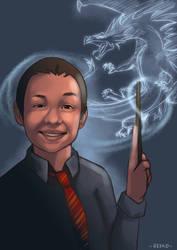Hogwarts kid with patronus Dragon