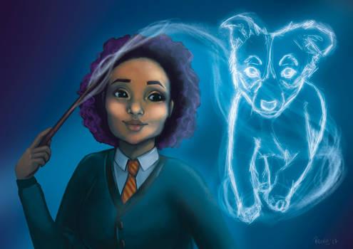 Hogwarts witch with Patronus Custom order