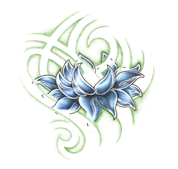 Open Lotus - flower tattoo