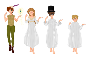 My Peter Pan, Wendy, John, Michael, and Tinkerbell by musicmermaid