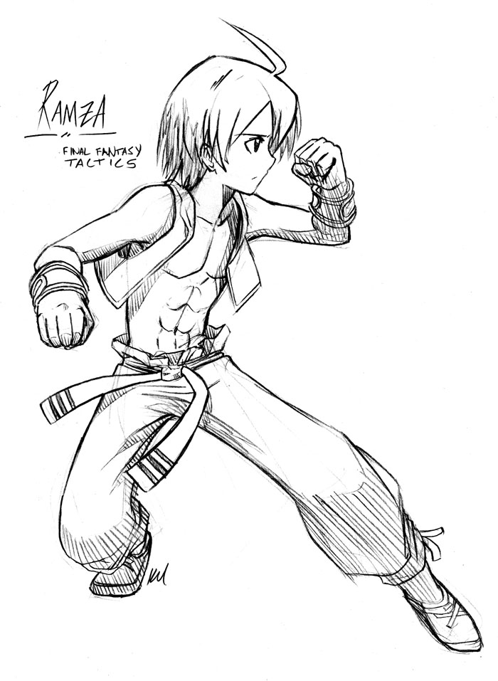 free sketch 08 - Monk Ramza by kelzero