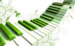 Piano keys all wavy and green
