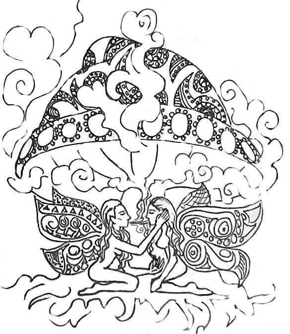 weed coloring pages for adults - stoner fairies no coloring by shroomsforlife on deviantart