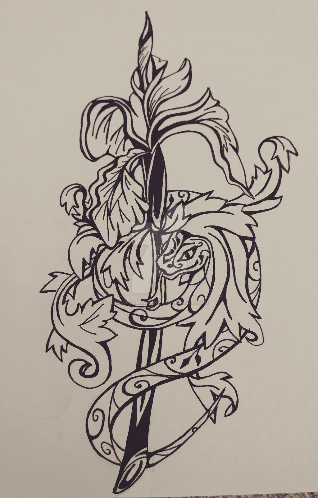16228ddf8c570 ... MoorlandMischief The Snake and the Iris (tattoo design) by  MoorlandMischief
