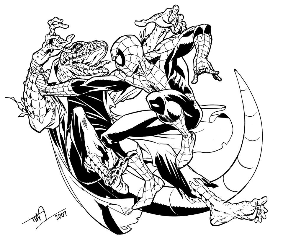 Lizard vs spider man by timlevins on deviantart for Spiderman 3 coloring pages