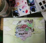 Howl's Moving Castle birthday card