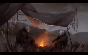 Steppe encampment by Shaidis