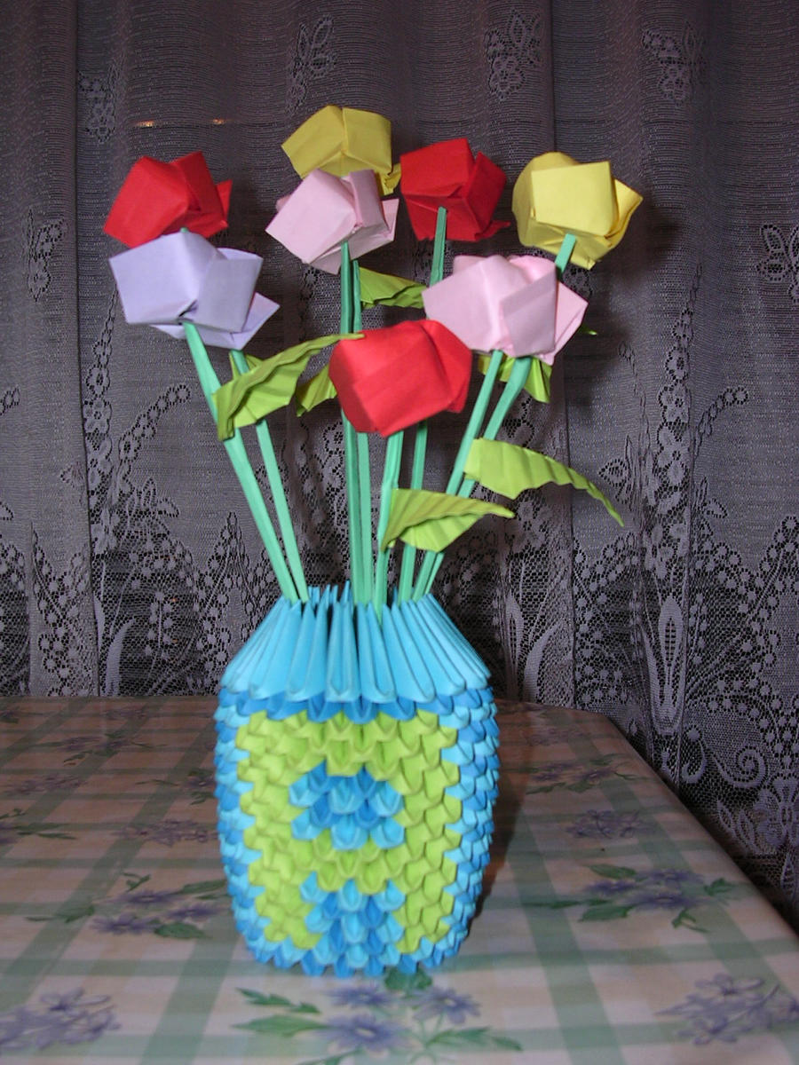 3d origami vase with roses by ketike on deviantart 3d origami vase with roses by ketike mightylinksfo