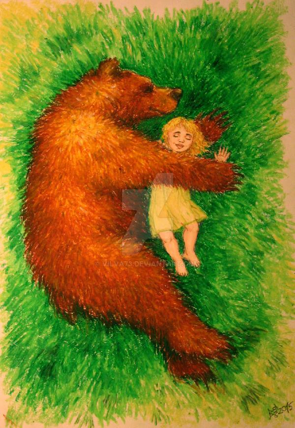 Goldilocks and bear, sleeping by vilva73